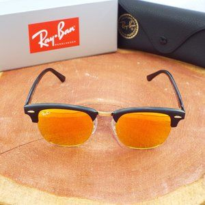 Ray Ban Clubmaster 51mm Red Mirror Lenses RB3016